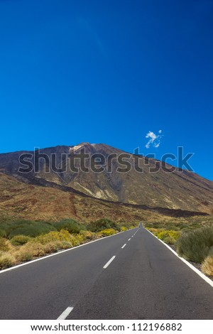 road in valley of volcano Teide, Tenerife, Spain