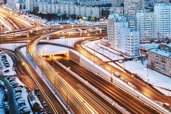 road junction in the streets of Moscow in winter night. Russia