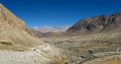 Road Khardungla to Leh-Ladakh with multicellular mountain,bluesky,Jammu & Kashmir,India.