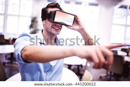 Road Landscape against man using a virtual reality device
