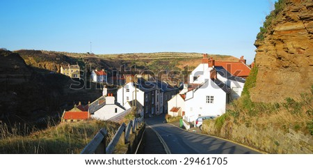 Road leading down to Staithes, North Yorkshire, UK.