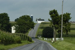 Road leading through farmland in Lancaster county