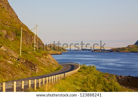 Road leading to a bridge on Lofoten Islands in Norway