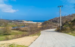 Road leading to the beach in the Black Sea town of Kiyikoy in northwestern Turkey