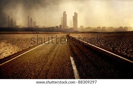 Road leading to the city with pollution