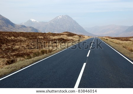 Road leading to the mountains of Scotland