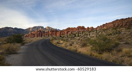 Road leading to the red rock canyon in Nevada near Las Vegas