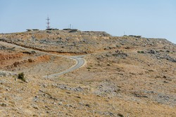 Road leading up to IDF observation towers on Mount Hermon, Israel