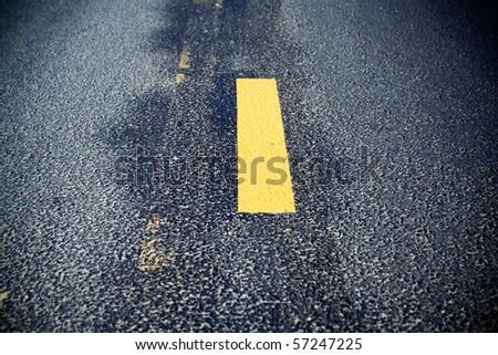 Road line on new asphalt