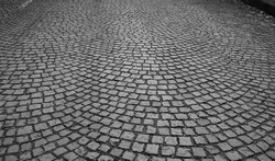 Road made of stone cube - as a black and white background