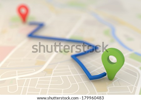 road map with Pin Pointers 3d rendering image