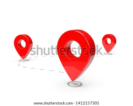 Road map with red pin pointers 3d rendering image.