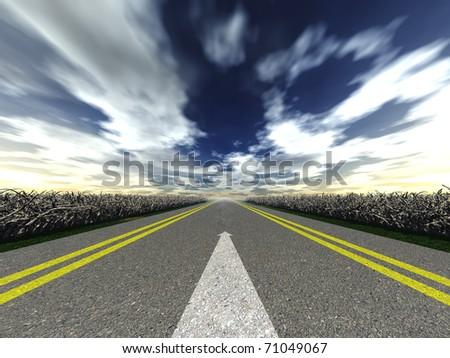 road marking arrow. White arrow at detailed texture asphalt