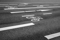 Road marking bicycle lane, Hamburg, Germany
