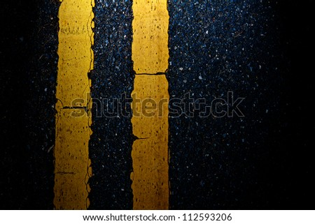 Road Marking - Double Yellow Lines on asphalt