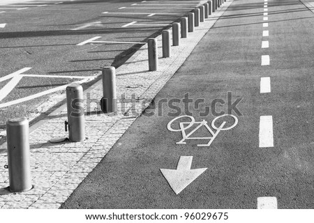 Road marking of the bicycle path and a parking in a city
