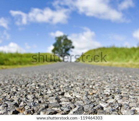 Road, middle of the road. - stock photo