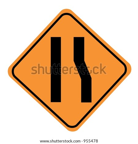 Road narrows merge left sign isolated on a white background