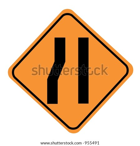 Road narrows merge right sign isolated on a white background