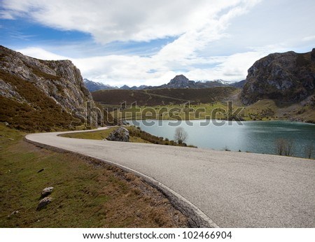 Road  near Lake Enol.   Picos de Europa. Asturias. Spain