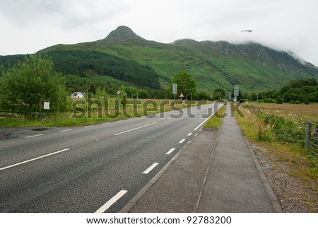Road near pap of Glencoe in Scotland, Highlands.