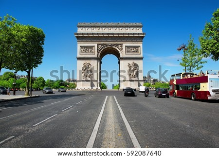 Road of Champs Elysee leading to Arc de Triomphe in Paris, France.