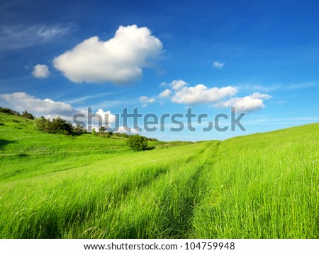 Road on grass and clouds. Bright natural landscape