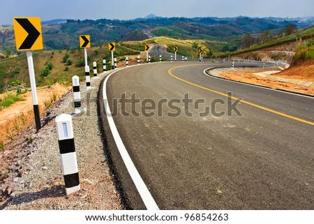 Road on high mountain - stock photo