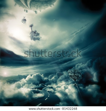 "Road on the cloudy Sky.""One way"" - stock photo"