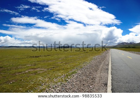 road on the highland in Tibet, this road is to the mysterious lake,Namucuo lake,