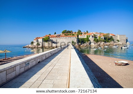 Road on the island Sveti Stefan. Montenegro