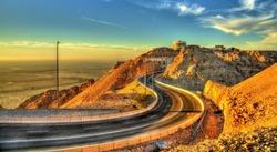 Road on top of Jabel Hafeet mountain in UAE