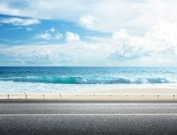 road on tropical beach