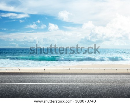 road on tropical beach #308070740