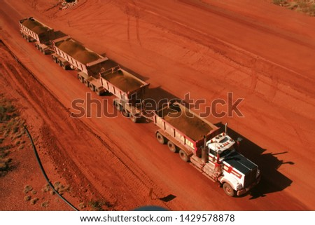 Road ore trains in the Pilbara carrying ore to port