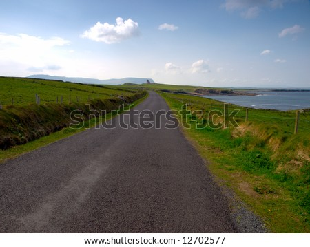 road overlooking cliffs at Mullaghmore, Co.Sligo, Ireland