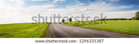 Road panorama on sunny spring day outdoors
