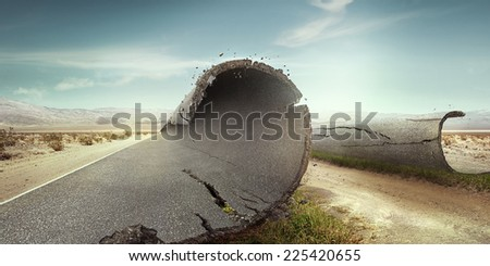 Road parted by a sandy path to the sun. Background