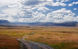 Road path on a highland mountain plateau with orange grass at the background of the wide steppe under a blue sky with white clouds Plateau Ukok Altai mountains Siberia Russia