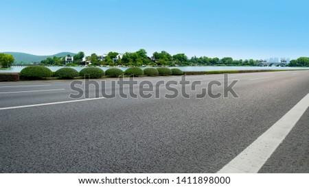 Road Pavement and Natural Landscape of Landscape #1411898000