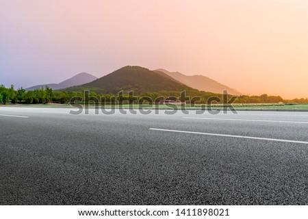 Road Pavement and Natural Landscape of Landscape