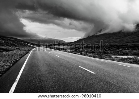 Road perspective black and white colors. Norway.