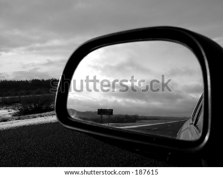 Road rear view b/w