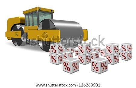 Road roller going over white cubes with percentage symbol on them / Flat interest rates