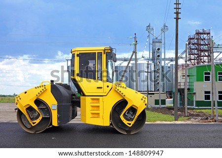Road roller in a new highway construction