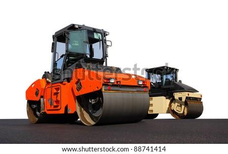 Road-roller pressing new asphalt. Isolated on white