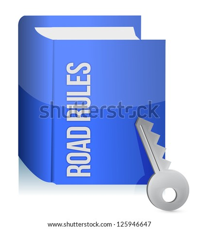 Road rules register with car keys illustration design