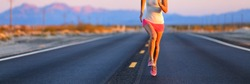 Road runner female athlete running shoes training on desert road banner. Panorama crop of lower body jogging outdoors at sunset.