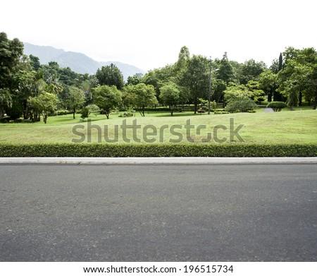 Road side view garden background