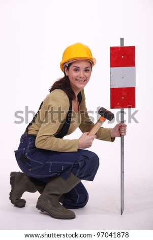 Road-side worker - stock photo